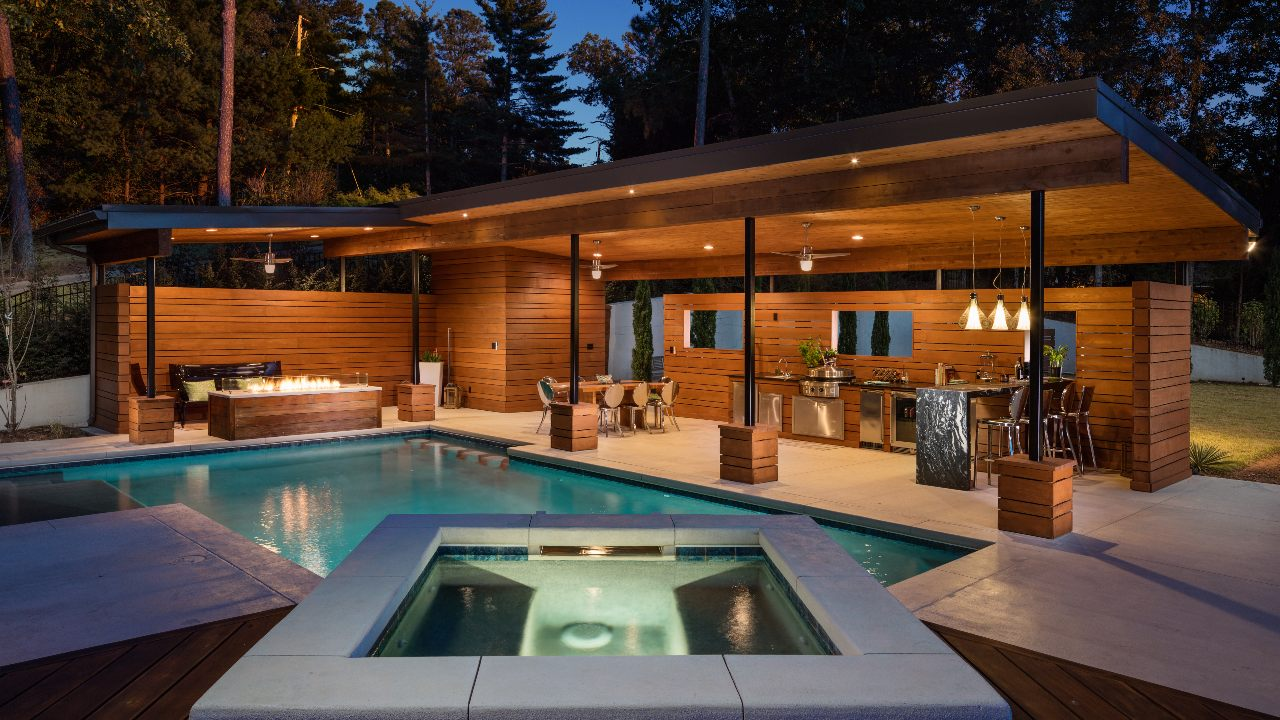 Luxury Swimming Pool Contemporary, Pool Cabana With Bathroom