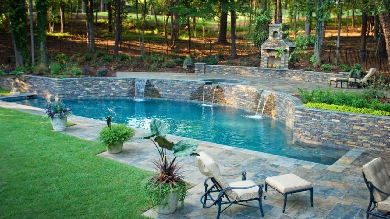 Custom Pool with Waterfalls