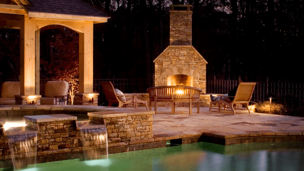 Custom Outdoor Living with Pool & Fireplace
