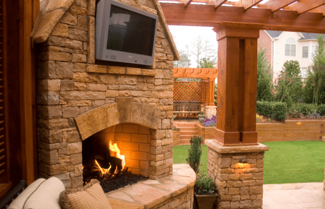 Custom Designed Outdoor Fireplace